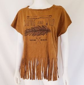 Young and Wild Suede Like Fringe Shirt
